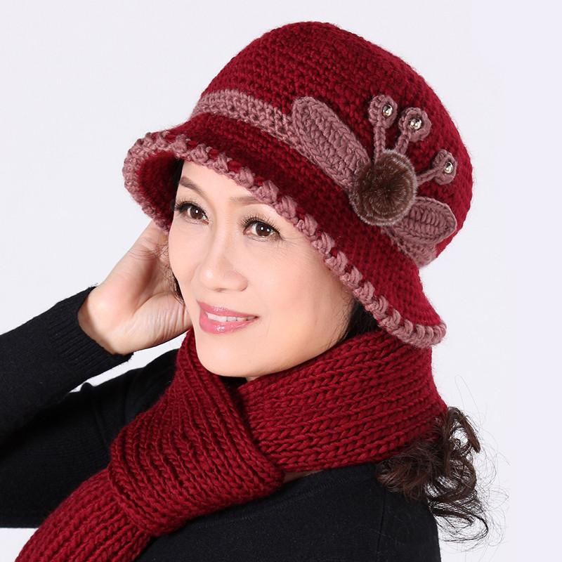 热销2017冬季中老年帽子女针织帽加绒保暖毛线帽秋冬老年中年妈妈围巾