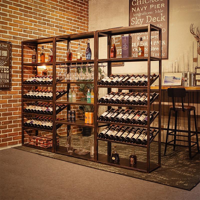 复古欧式铁艺酒架酒吧落地酒柜葡萄酒红酒收纳展示架置物架酒杯架图片