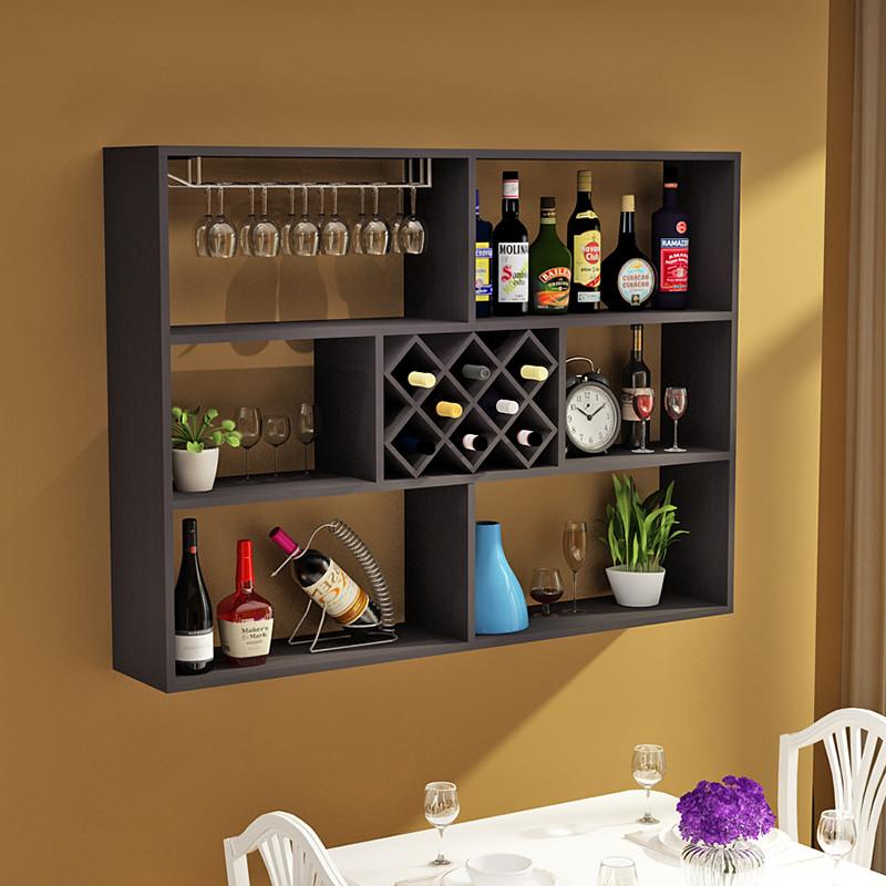 墙上酒柜现代简约餐边柜挂墙实木红酒架装饰吊柜餐厅创意壁挂酒架图片