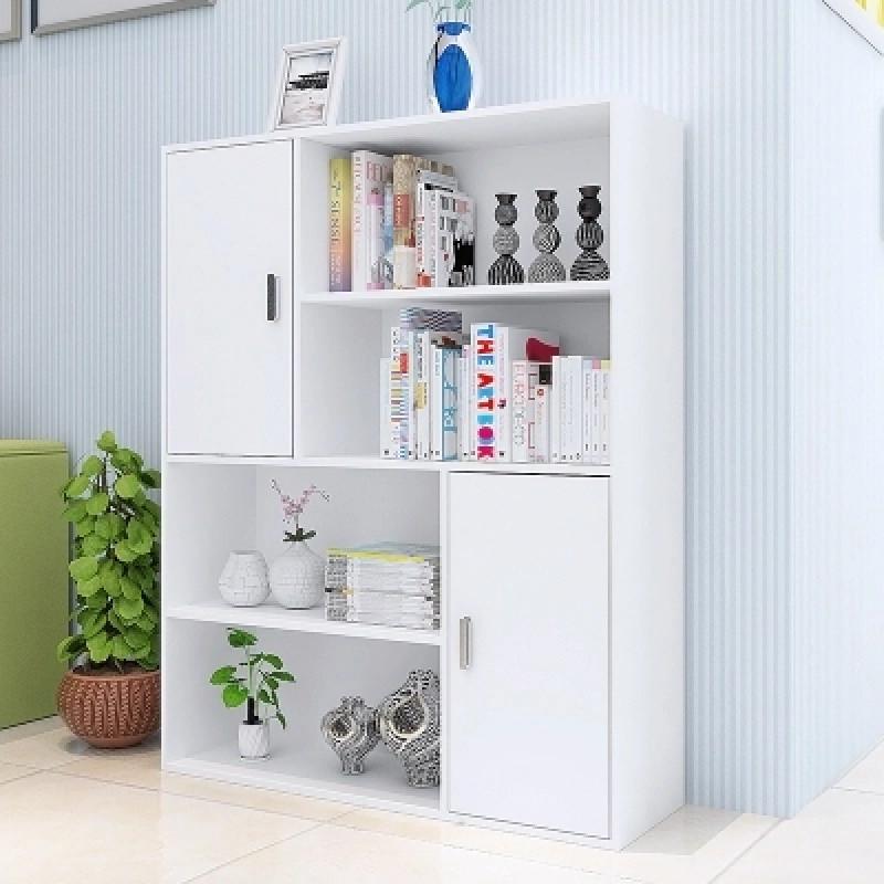 现代简约女孩学生书柜书架 四层组合书柜 简易储物柜门柜木柜图片