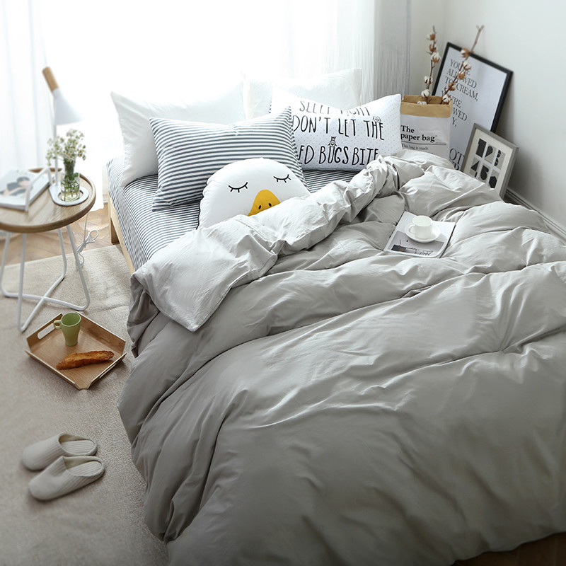 韩式简约风全棉四件套纯棉床单被套可爱卡通清新床上用品