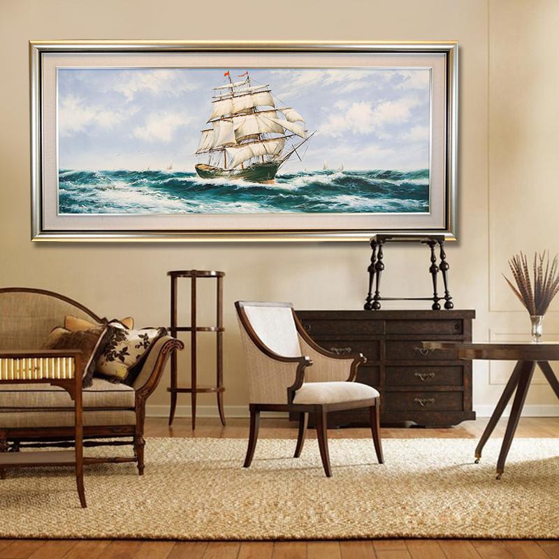 手工立体手绘乘风破浪帆船风景油画客厅装饰沙发背景墙画