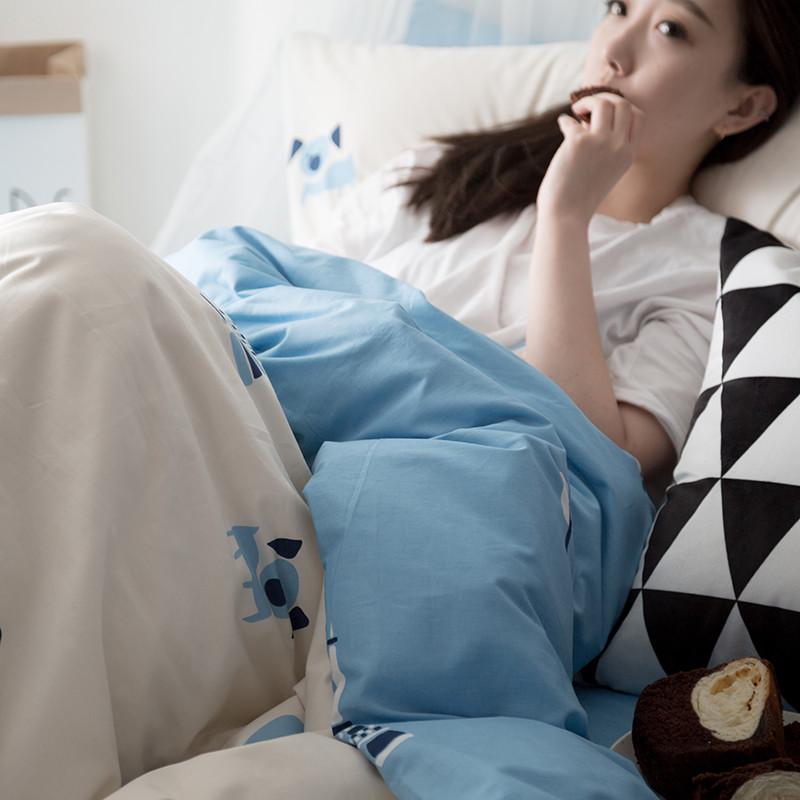 韩式全棉四件套可爱小清新三件套简约单双人纯棉被套床单床品