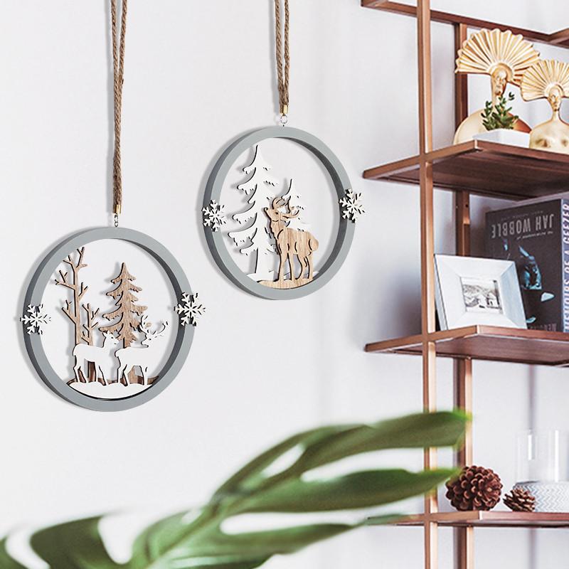 北欧麋鹿圆形壁饰壁挂创意麻绳墙饰圣诞节日幼儿园店铺墙面装饰品