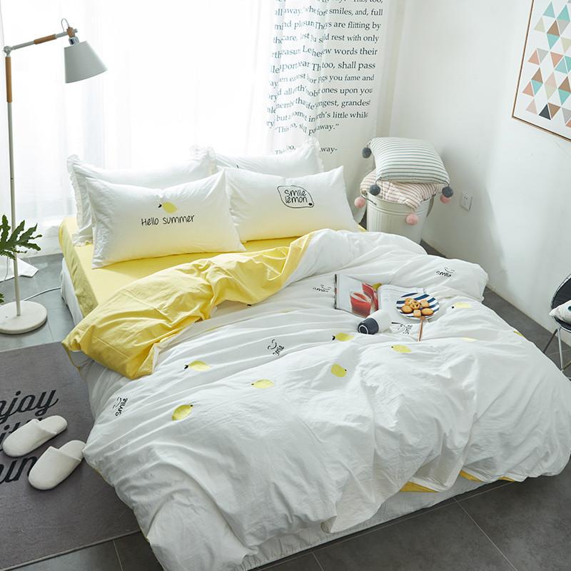 可爱公主床品 日韩式刺绣色织水洗棉纯棉床单床笠四件套全棉