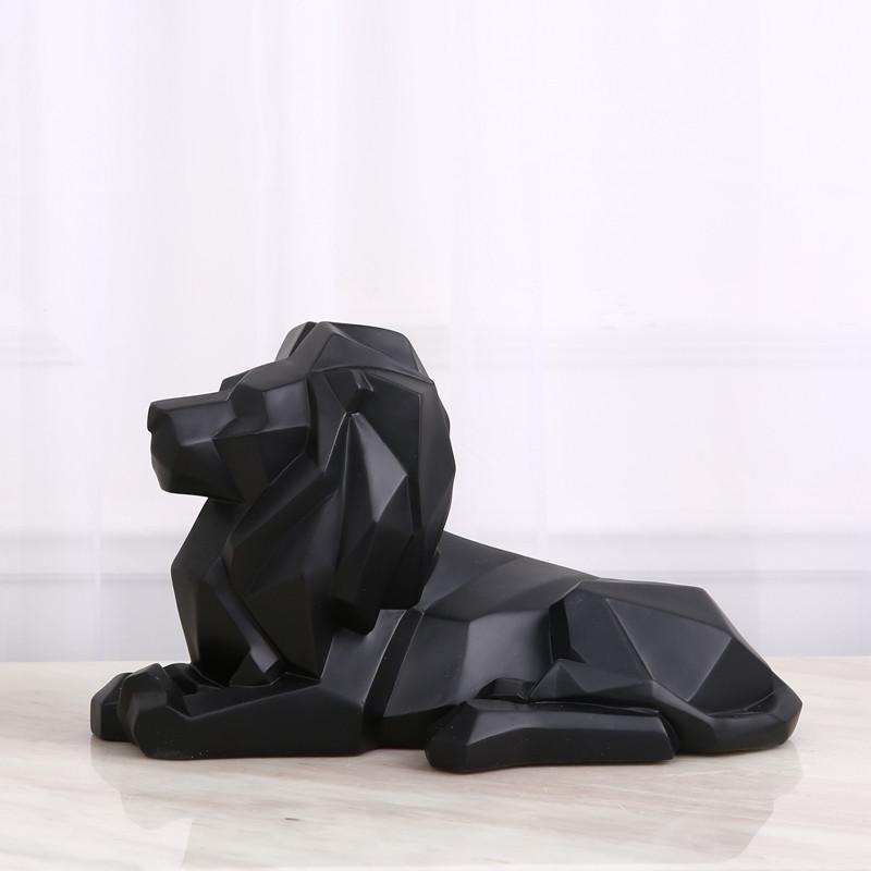 邸高 现代北欧家居装饰品样板房摆件折纸几何狮子动物