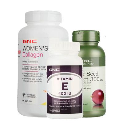 美國進口 健安喜(GNC) 修復型水解膠原蛋白肽180粒+葡萄籽100粒+維生素E100粒 3瓶裝軟膠囊 美容養顏