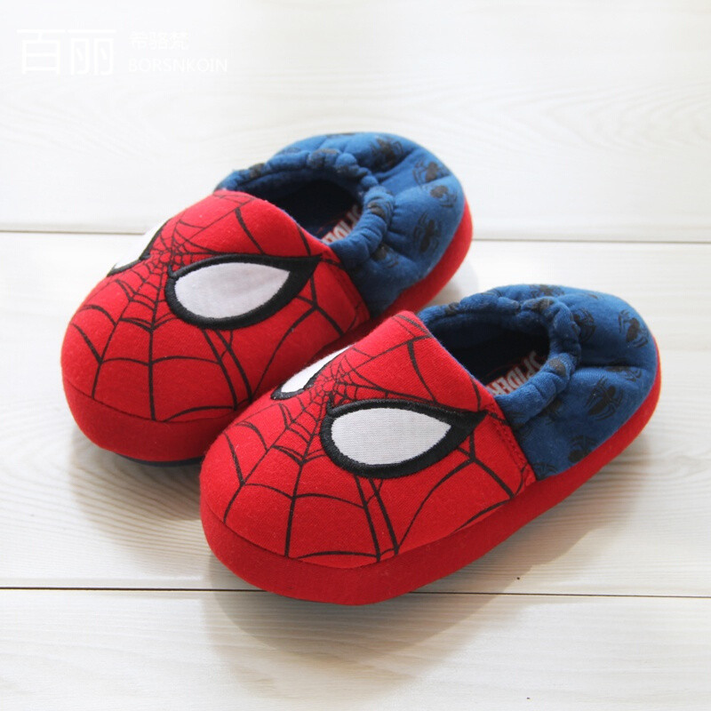 百丽希骆梵男女宝宝居家全包跟男女士儿童高帮保暖棉拖鞋红蓝色