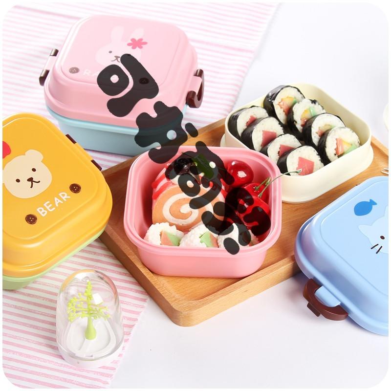 可书日式可爱儿童2双层分隔饭盒 迷你创意学生女便当盒便携野餐水果盒