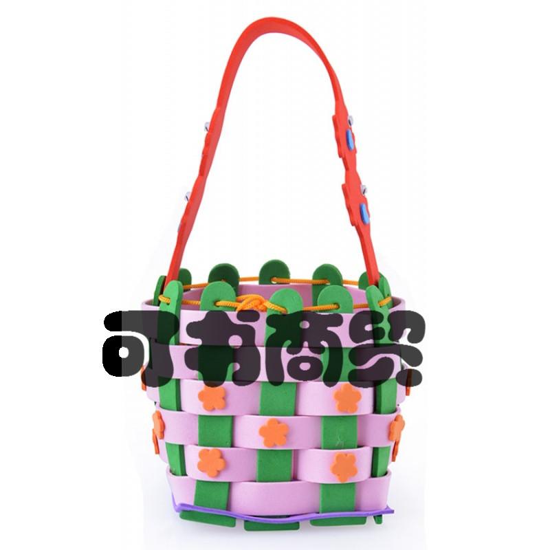 可书儿童创意益智diy手工制作手缝包 粘贴幼儿园美劳材料包编织小花篮