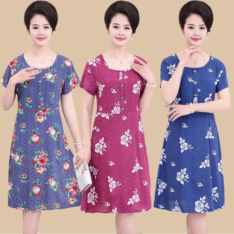 中年服装_新款中老年女装夏装40-50岁中年妈妈装短袖棉绸衣服中