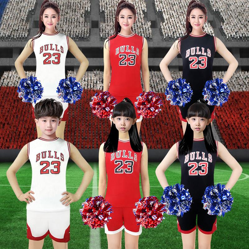 新款儿童啦啦操表演服套装女小学生拉拉队足球宝贝演出服装成人舞蹈服图片