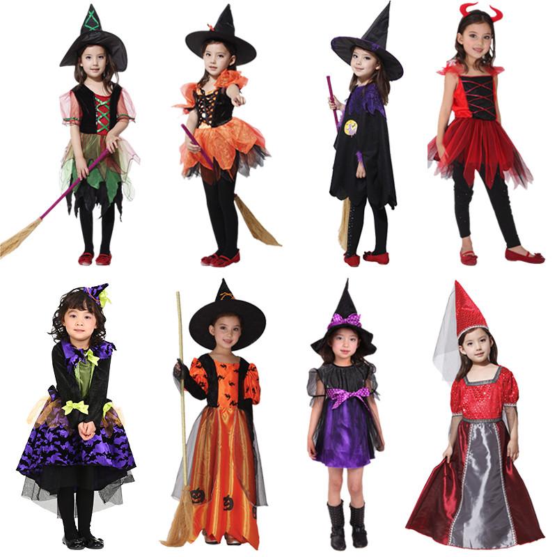 新款万圣节儿童服装巫婆演出服化妆舞会cos服装巫师女巫衣服斗篷披风