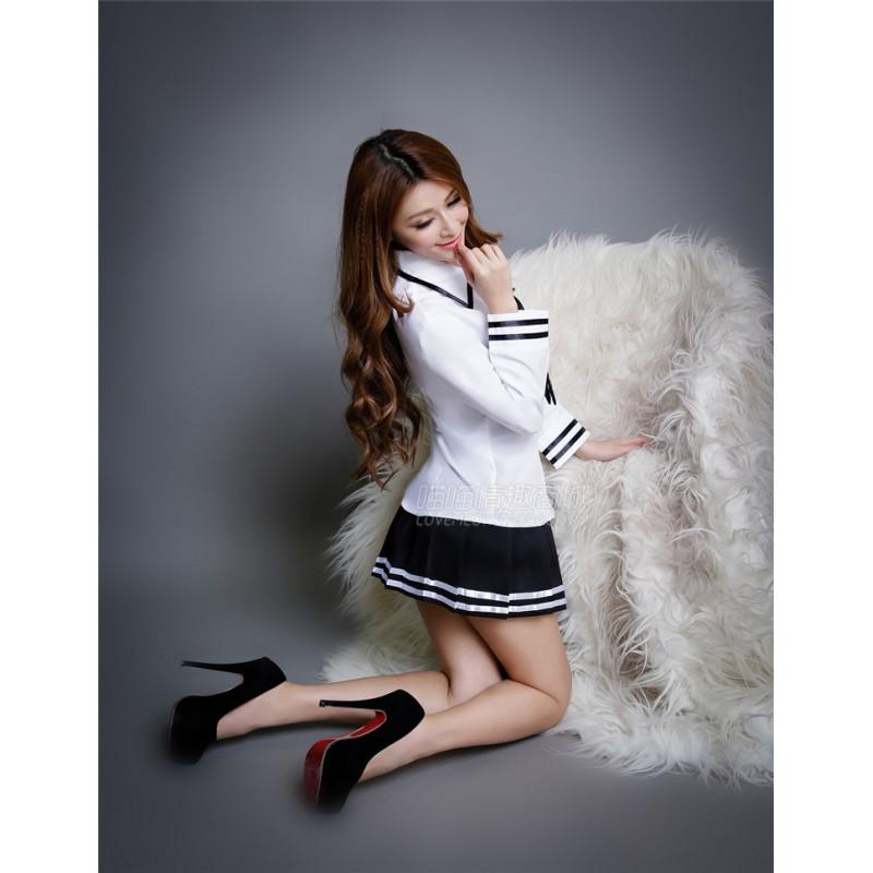 黑丝袜教师风骚_新款学生装情趣内衣角色扮演女式水手服性感教师制服游戏诱惑丝袜套装