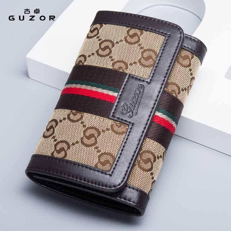 新款2017新款钱包女士短款韩版真皮折叠小钱包迷你帆布配牛皮女式钱夹