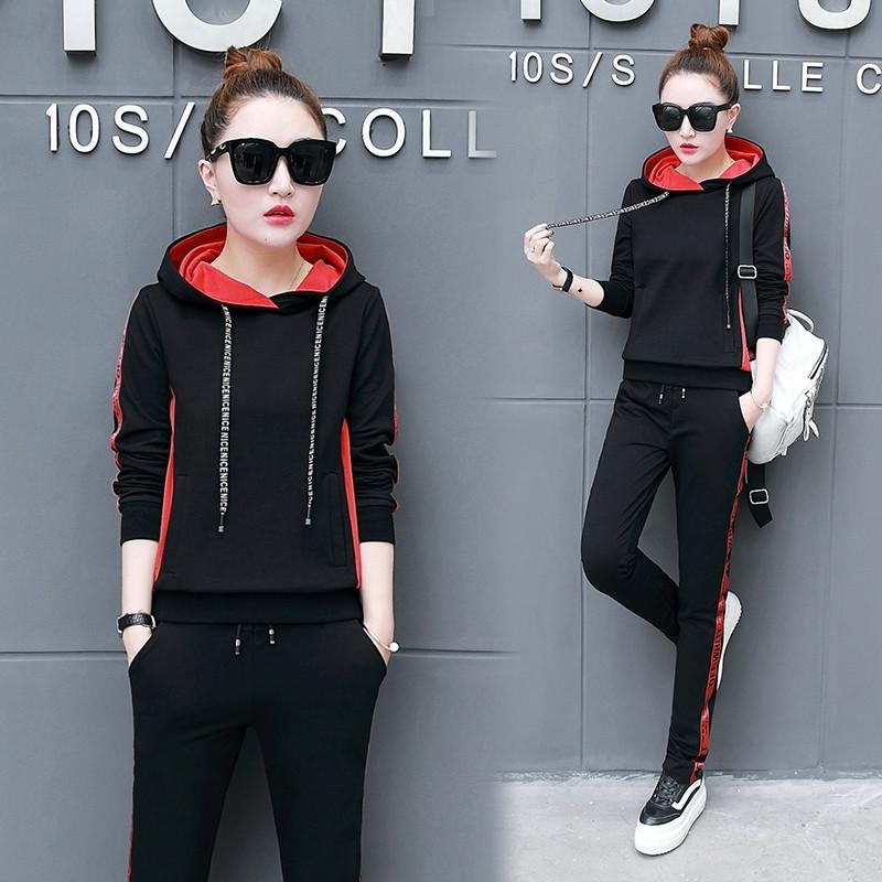运动套装女春季2018新款时尚学生韩版春秋百搭卫衣两件套休闲衣服