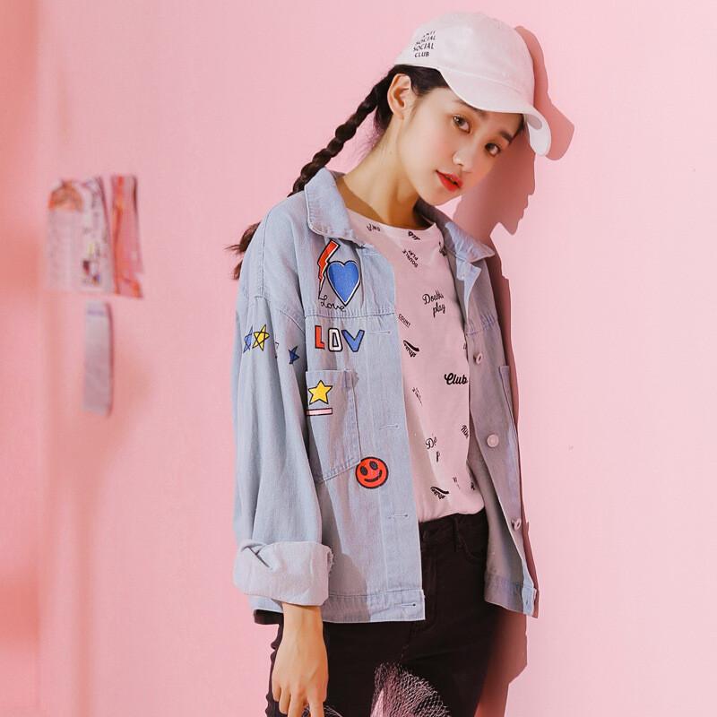夜婷软妹外套2018秋装新款韩版日系少女甜美小清新可爱牛仔上衣l5