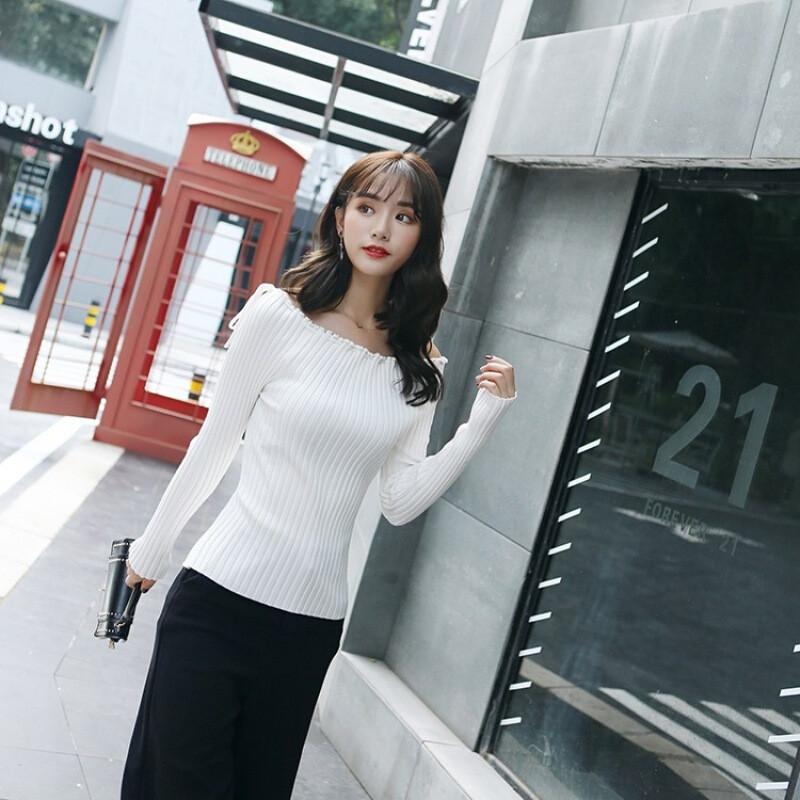 一字领毛衣女系带修身显瘦韩版百搭性感针织打照衬衣私房性感a毛衣白色迷人图片