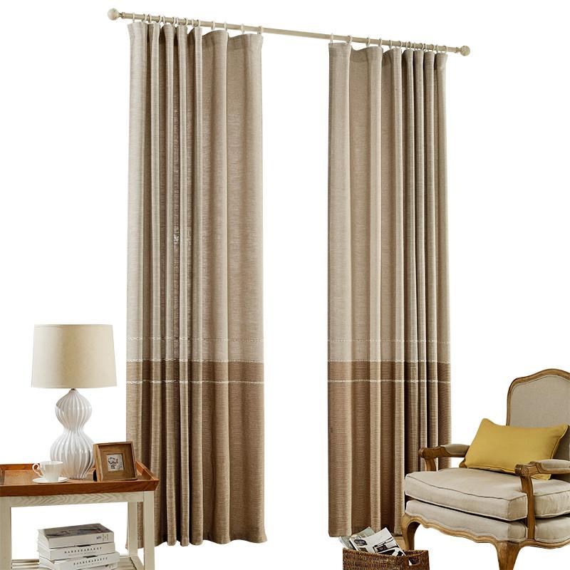 新中式简约现代素色窗帘北欧客厅棉麻拼接隔断窗帘布料定制落地窗图片