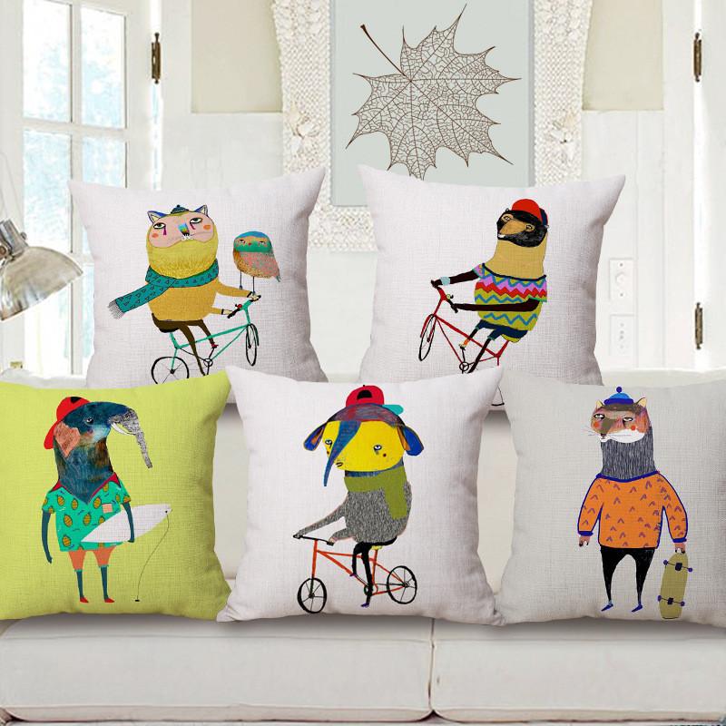 简约卡通动物抱枕芯手绘动物北欧腰枕美式沙发靠垫办公靠枕