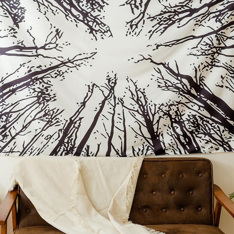 北欧时尚涤纶印花黑森林挂布挂毯墙壁装饰布背景布沙发巾桌布