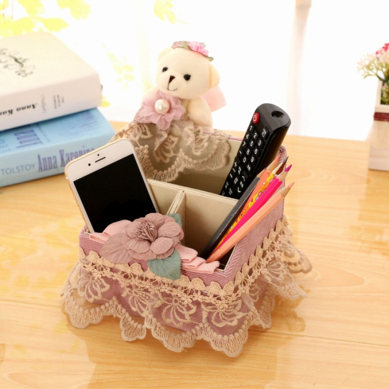 面巾纸盒布艺蕾丝餐巾纸盒可爱小熊收纳盒遥控器篮多用收纳盒