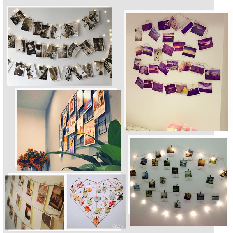 创意简约韩风装饰明信片麻绳夹子卧室背景墙壁饰挂饰少女心照片墙