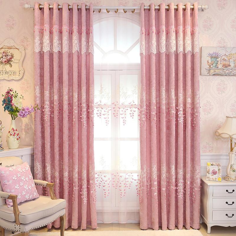 欧式窗帘布遮光卧室清新可爱窗帘公主风粉红色梦幻浪漫粉少女窗纱