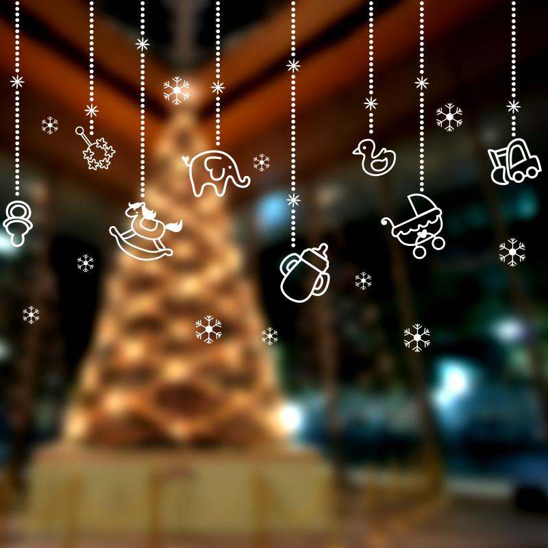 新年圣诞节吊球挂件吊饰雪花墙贴纸贴画服装店玻璃橱窗布置装饰品图片