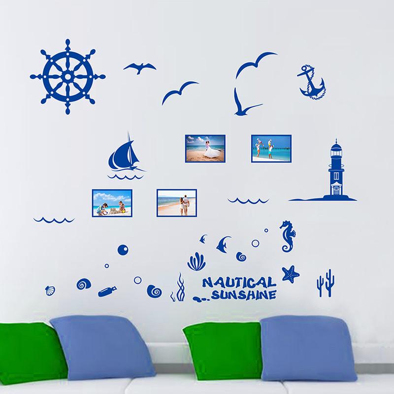 海洋地中海蓝色相片框照片墙贴相片贴客厅卧室书房可移除贴纸贴画