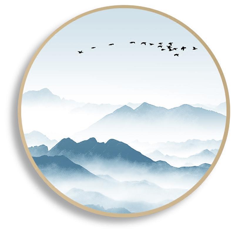 装饰圆形挂画中式山水风景创意圆形相框现代简约中国风国画山水画 03图片