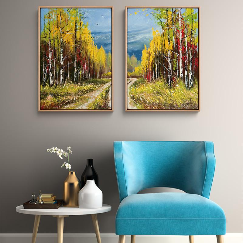 客厅欧式装饰画墙画油画秋天森林壁画组合挂画餐厅玄关卧室背景墙