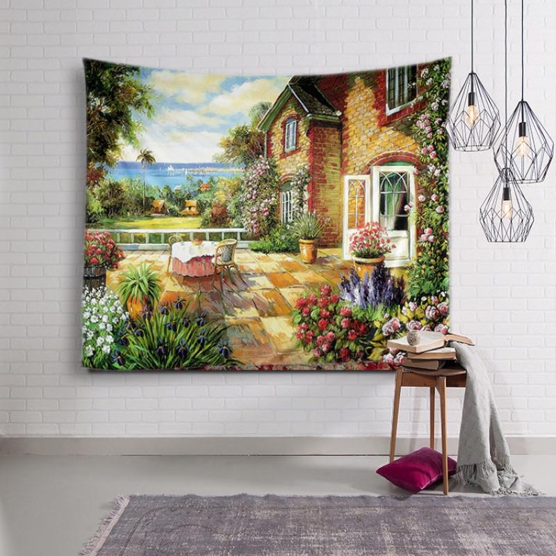 欧式油画法国乡村挂布北欧墙面背景装饰画布墙挂毯沙发巾桌布