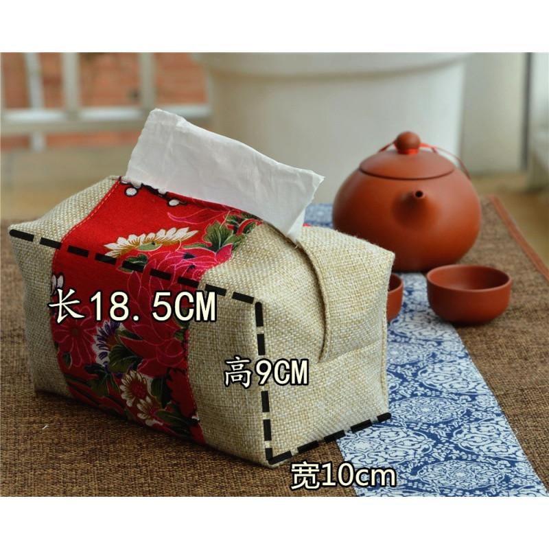 中国风纸巾盒 布艺抽纸盒亚麻车用车载卫生间桌面装饰