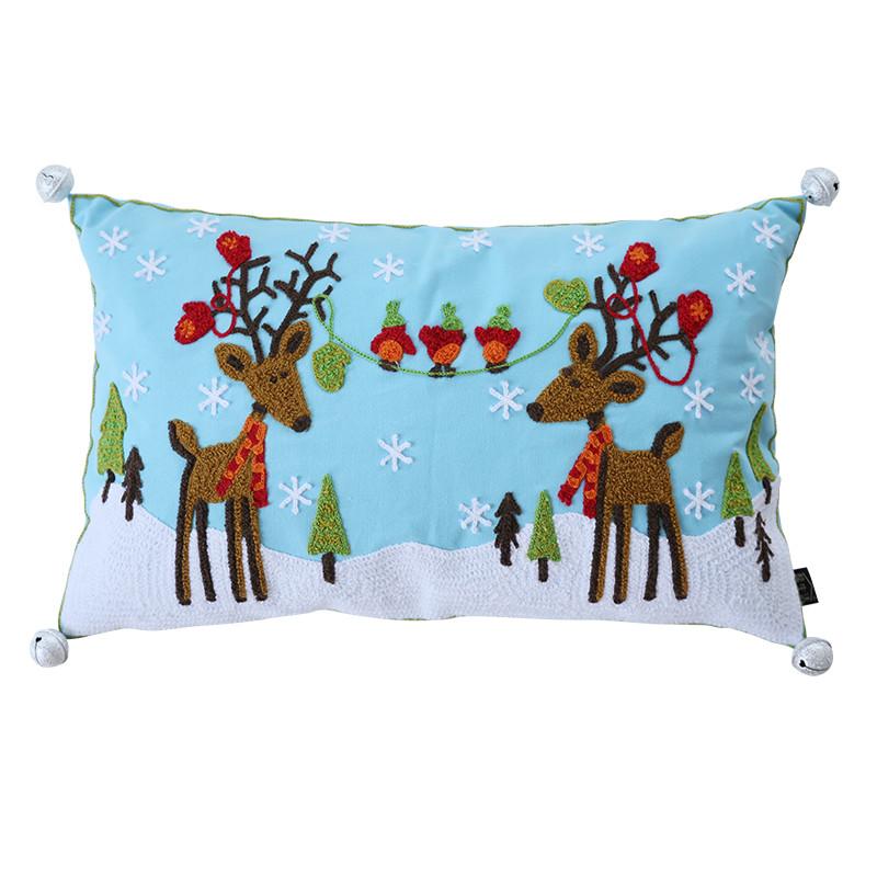 可爱圣诞抱枕装饰抱枕圣诞鹿公仔 玩偶圣诞装饰铃铛 圣诞节礼物