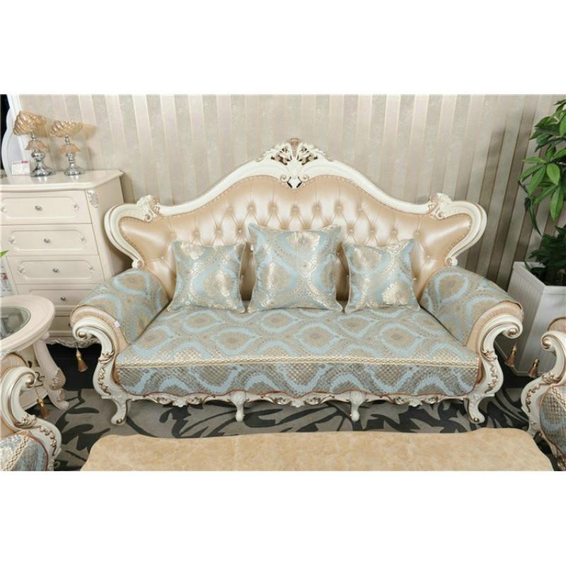 欧式沙发垫 绗缝加厚防滑冬季沙发套 沙发垫子 坐垫 套罩 天蓝色图片