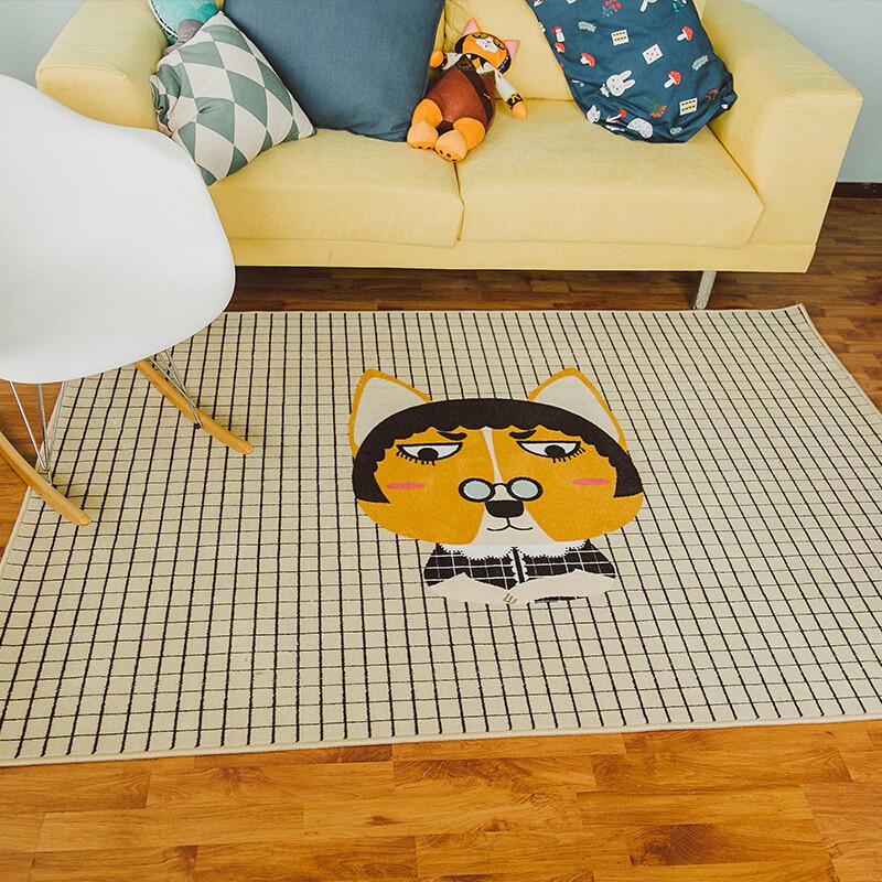 卡通沙发茶几可爱动物客厅地毯卧室床边房间长方形大地垫苏格兰牧羊犬