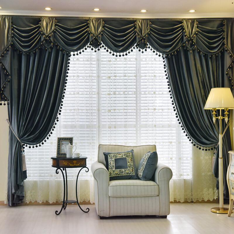 欧式窗帘客厅成品_加厚高档欧式纯色意大利绒布遮光客厅卧室窗帘帘头幔成品定制紫罗兰一