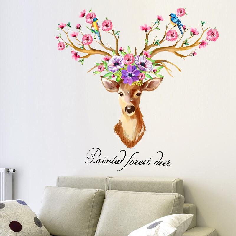 个性文艺手绘梅花鹿玄关鹿头墙壁贴画卧室客厅玄关学校寝室墙贴纸
