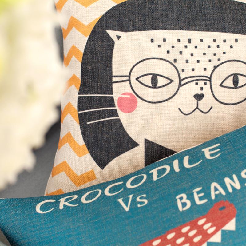 卡通可爱动物加厚棉麻抱枕动漫靠枕含芯长方形靠背办公室沙发靠垫