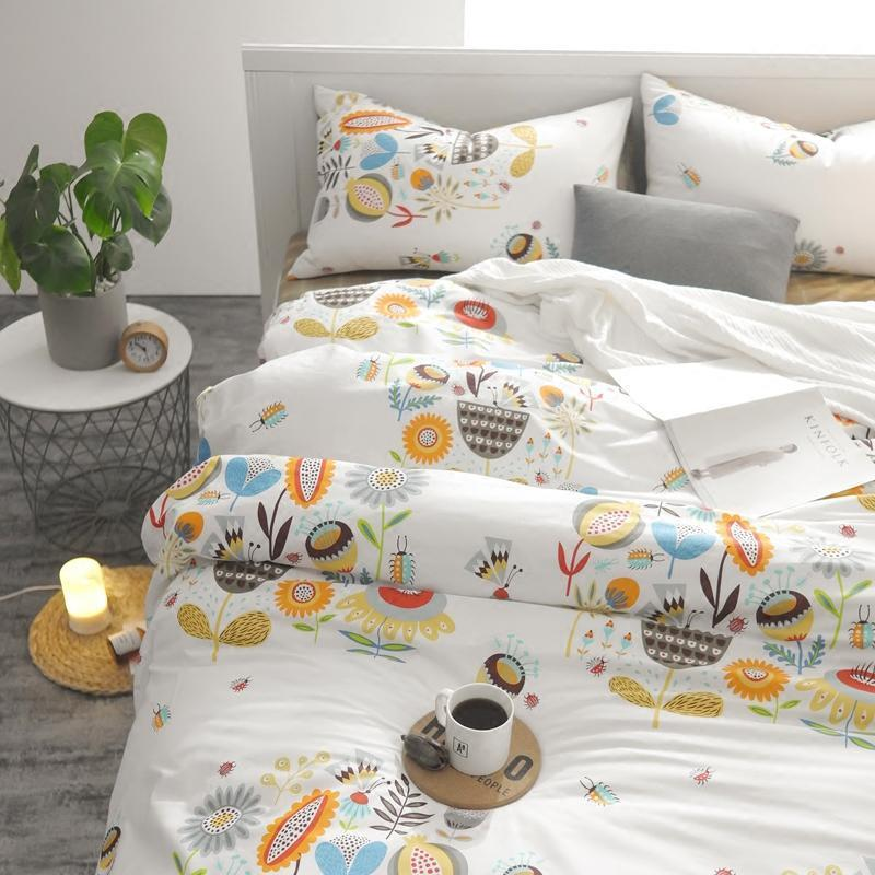 韩式小清新纯棉四件套简约风被套卡通可爱儿童全棉三件套床上用品