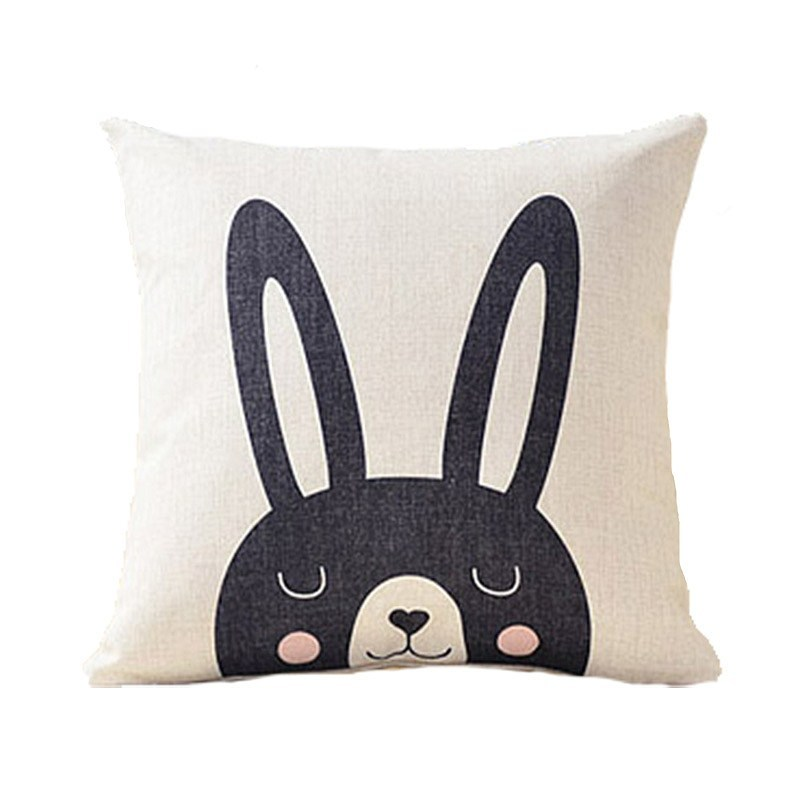 北欧黑白可爱棉麻抱枕儿童房装饰礼物沙发靠枕腰垫汽车靠垫抱枕套