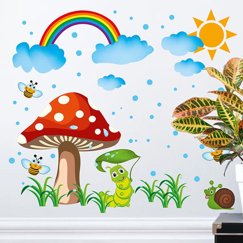 墙贴纸贴画宝宝儿童房间卡通幼儿园墙壁装饰云朵彩虹蘑菇可爱创意