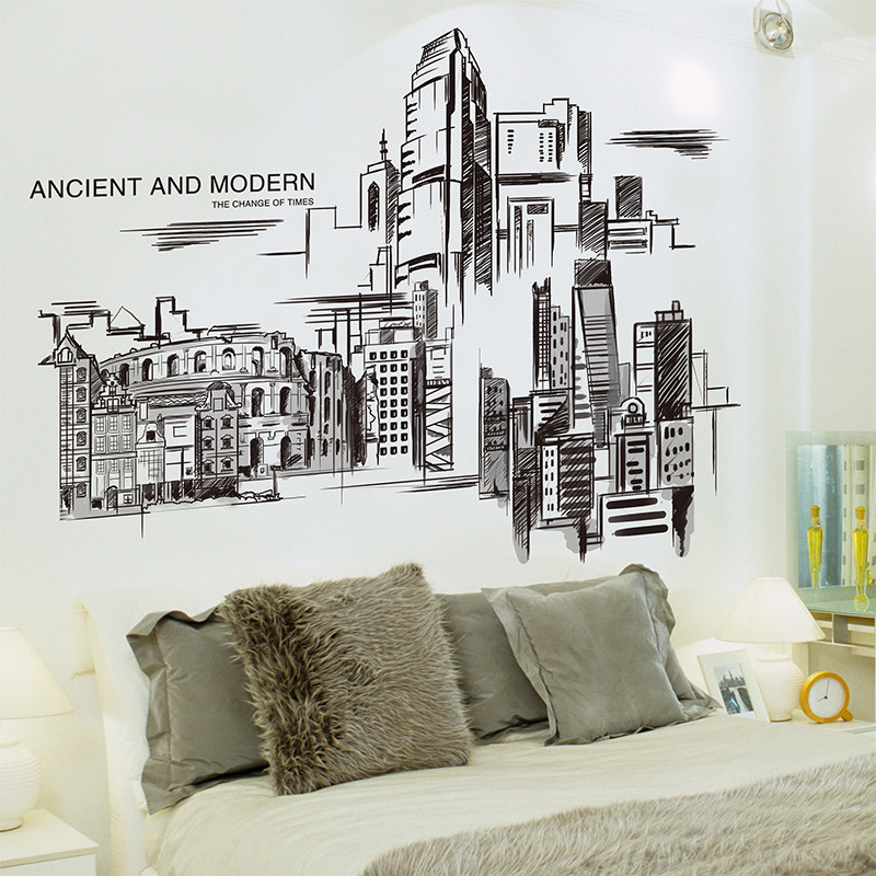城市简笔画北欧风墙贴纸男生宿舍卧室床头创意墙画墙纸斗兽场