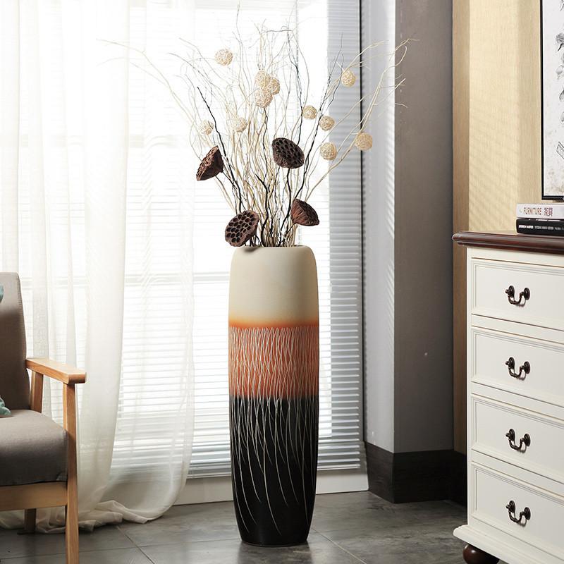 客厅落地大花瓶陶瓷 现代简约家居装饰品摆件干花插花图片