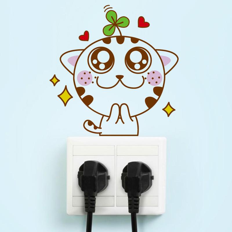 可移除墙贴纸开关贴卡通可爱动物猫咪创意客厅卧室笔记本墙壁随意