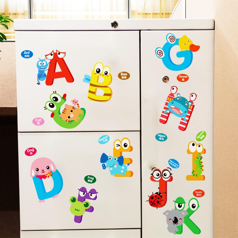 儿童房间卧室墙贴纸可爱宝宝卡通动物早教益智幼儿园教室英文字母