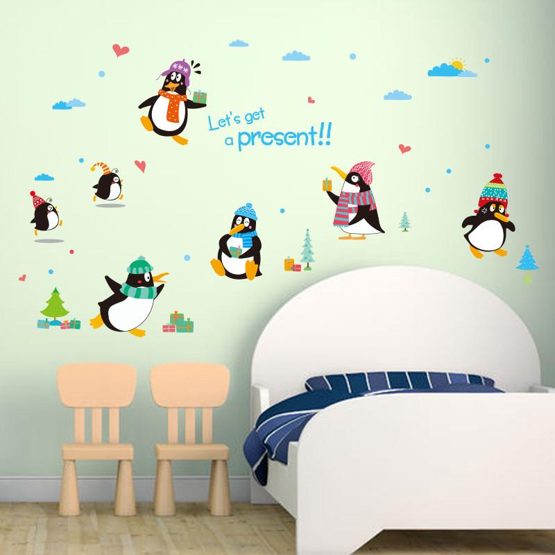 卡通儿童房墙贴q版礼物企鹅一家冬天雪地动物幼儿园装饰贴纸帽子
