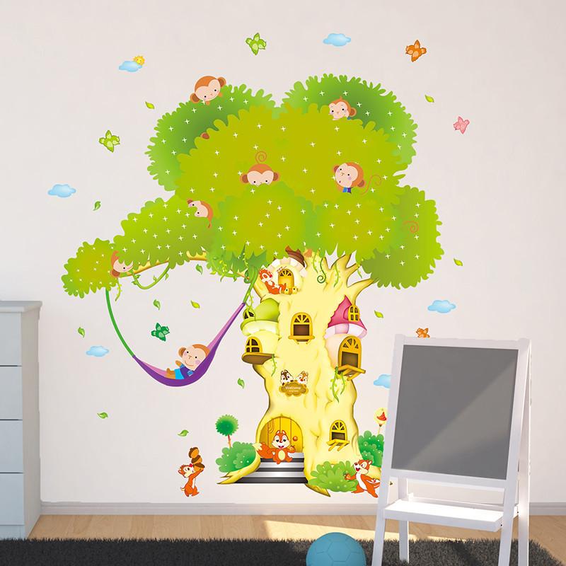 卡通兒童房臥室幼兒園自粘壁紙臥室客廳樹屋墻貼紙貼畫房間裝飾品