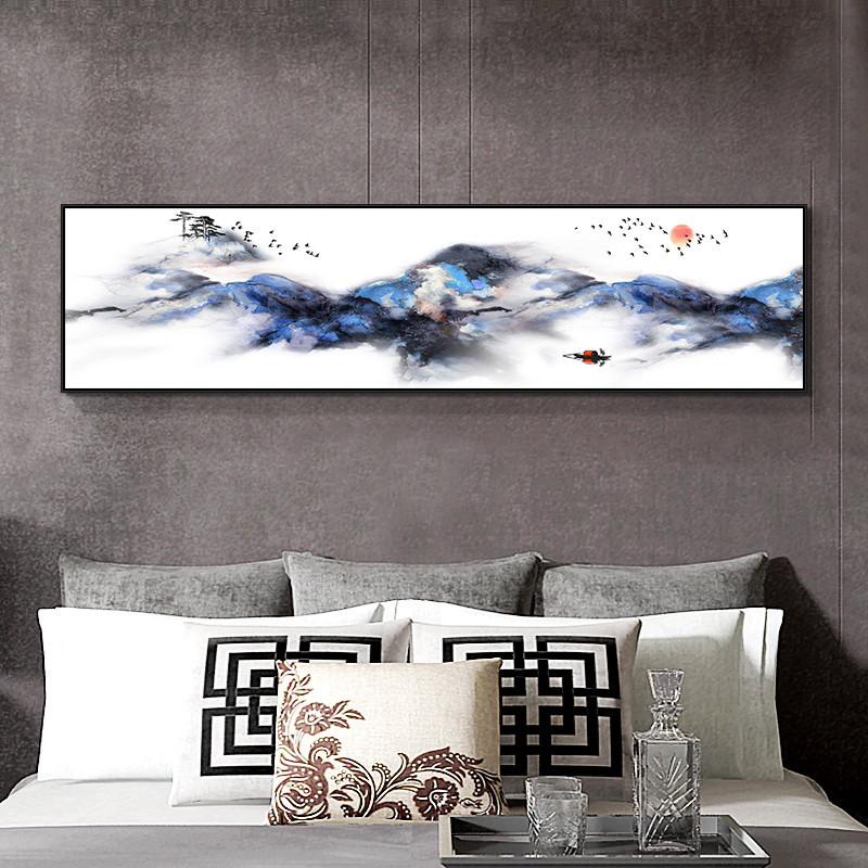 客厅沙发背景墙装饰画北欧风景壁画卧室床头横幅山水挂画抽象风景